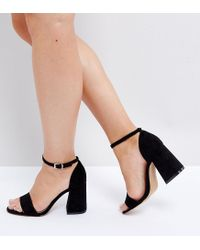 ASOS Black Asos Heartache Wide Fit Heeled Sandals