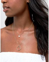 ASOS - Metallic Pearl And Open Circle Multirow Necklace - Lyst