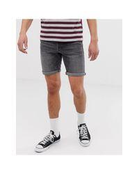 Short slim en jean - délavé SELECTED pour homme en coloris Gray