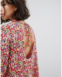 Reclaimed (vintage) Multicolor Inspired Tie Back Swing Dress In Multicolour Ditsy Floral