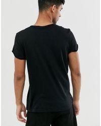 Camiseta negra con pespuntes Cheap Monday de hombre de color Black