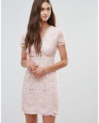 Darling | Natural Short Sleeve Lace Shift Dress | Lyst