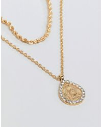 ASOS Metallic Multirow Necklace With Crystal Teardrop Vintage Style Icon Pendant In Gold