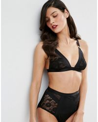 ASOS - Black Lexy Fishnet & Lace Thick Strap Triangle Bra - Lyst