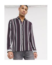 Camicia a righe bordeaux e nere con maniche lunghe di Topman in Red da Uomo