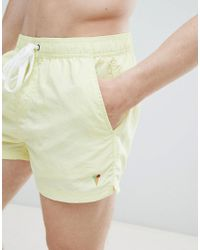 Pull&Bear Swim Shorts In Yellow With Embroidery for men