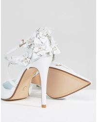 Dune Leather Clematis Flower Open Pumps