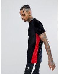 ASOS Black Asos Longline T-shirt In Velour With Contrast Side Panel for men