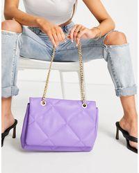 Фиолетовая Стеганая Сумка Через Плечо С Ремешком-цепочкой ASOS, цвет: Purple