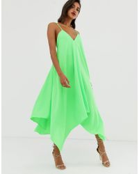 Vestido midi de satén con diseño trapezoidal ASOS de color Green