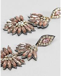 ASOS Metallic Embellished Jewel And Crystal Drop Earrings