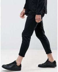 Casual Friday Cropped Drop Crotch Pants In Black for men
