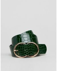 River Island Green Katie Croc Double Jeans Belt