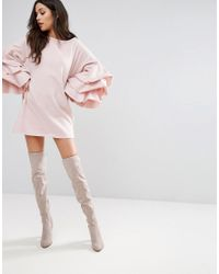 PRETTYLITTLETHING - Pink Shift Dress With Tiered Sleeves - Lyst