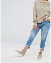 Daisy Street Blue Reconstructed Jeans With Frayed Hems