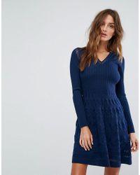 M Missoni Blue Long Sleeved V Neck Wool Mix Knit Dress