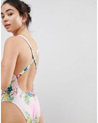 Free Society Multicolor Floral Cross Back Swimsuit
