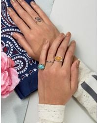ASOS - Metallic Pack Of 4 Spiral & Stone Rings - Lyst