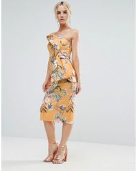 ASOS Yellow Floral Fold Bow Front Bandeau Scuba Midi Dress
