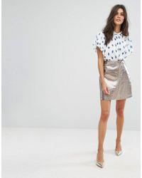 Suncoo Metallic Zip Mini Skirt