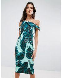 ASOS | Green Palm Leaf Hitchcock Midi Pencil Dress | Lyst