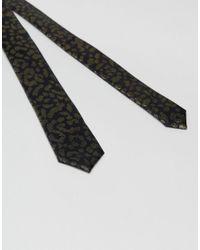 ASOS Black Gold Leopard Print Tie for men