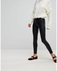 ONLY Black Mid Rise Leather Look Jean