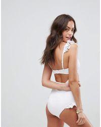 ASOS - White Lace Neoprene Frill Sweetheart Crop Bikini Top - Lyst