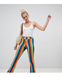 Daisy Street Multicolor Flares In Rainbow Stripe