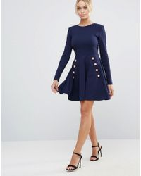 Club L Blue Miltary Detailed Crepe Skater Dress With Buttons