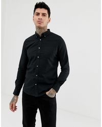 Camicia Oxford nera a maniche lunghe di Burton in Black da Uomo
