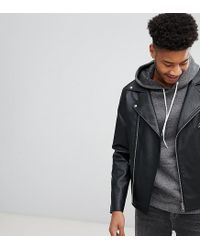 d5bfb99b7bced ASOS Tall Leather Look Biker Jacket In Black in Black for Men - Lyst