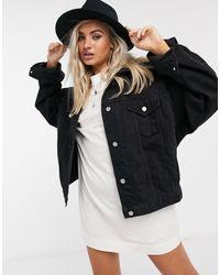 Veste en jean oversize TOPSHOP en coloris Black