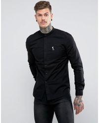 Religion Black Shirt With Grandad Collar for men