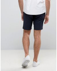 Only & Sons Blue Skinny Shorts In Cotton Sateen for men
