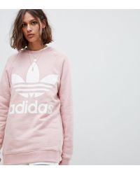 1ac798ba0faf Lyst - adidas Originals Trefoil Logo Sweatshirt In Pink in Pink