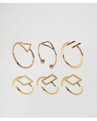 ASOS - Metallic Pack Of 6 Fine Open Shape Rings - Lyst