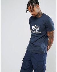 Alpha Industries Blue Logo T-shirt In Navy for men