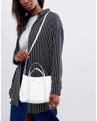 Mango - White Mini Slouch Cross Body Bag - Lyst