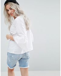 Noisy May Petite White Fluted Sleeve Top
