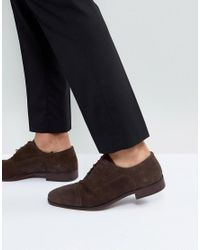 ASOS Asos Brogue Shoes In Brown Suede With Natural Sole for men