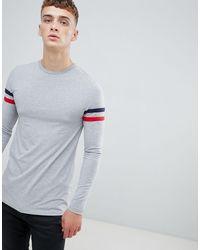 T-shirt long moulant avec manches longues à empiècements contrastés - chiné ASOS pour homme en coloris Gray