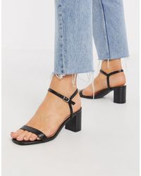 New Look Black Strappy Square Toe Low Heeled Sandals