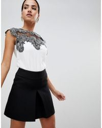 Lipsy White Top With Lace Detail