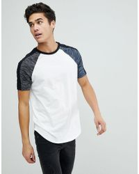 ASOS - Longline T-shirt With Curved Hem With Interest Fabric In White for Men - Lyst