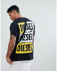 DIESEL Black T-just-zc Scratch Logo T-shirt With Back Print for men