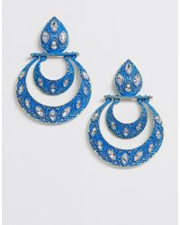 ASOS Blue Earrings With Coloured Metal And Studded Jewels