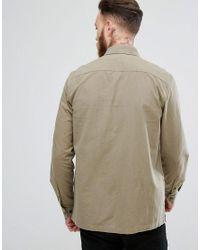 ASOS Green Textured Overshirt In Khaki for men