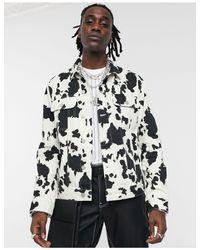 Chaqueta vaquera con estampado ASOS de hombre de color White