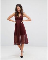 New Look Textured Mesh Midi Dress